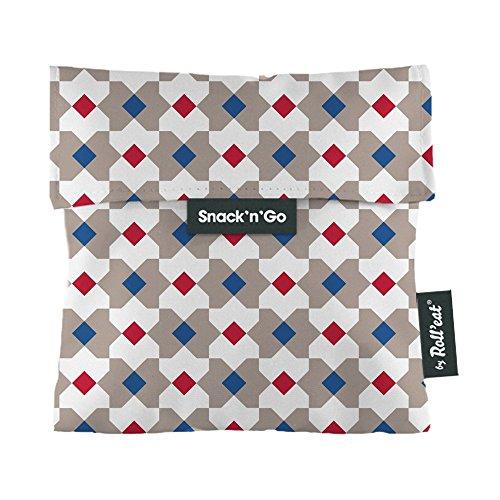 Roll'eat Snack'n'Go – Snackbeutel   wiederverwendbarer, ökologische Lunchbox, BPA frei, leicht zu reinigender Snackbag - Motiv: Tiles Eixample BCN, Farbe rot, blau, grau, 16 x 16 cm