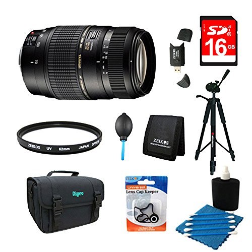 Tamron AF017NII-700 70-300mm f/4-5.6 DI LD Macro for Nikon AF with Built-in Motor Bundle with 16GB Memory Card, Camera Bag for DSLR, 60 Inch Tripod and 62mm Multicoated UV Protective Filter