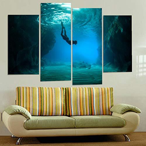 UDPBH 4 Platten Malerei Bild Wandkunst Dekoration Tauchen Leinwand Für Wohnzimmer Moderne Druckarten