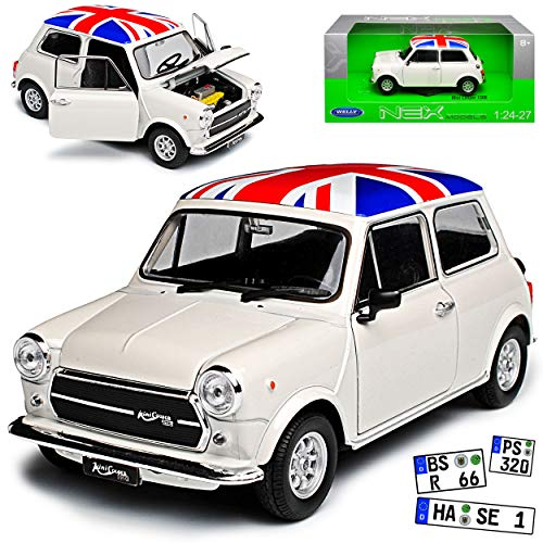 Welly Mini Cooper Ur Modell Weiss mit Flagge Union Jack Grossbritanien 1959-2000 1/24 Modell Auto