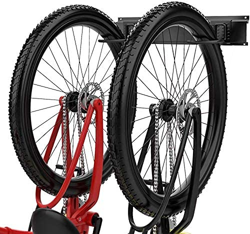 TORACK Bike Storage Rack Bike Wall Rack, 2 Bike Adjustable Indoor Bicycle Storage Mount for Garage or Home, Vertical Cycling Hanger, Holder for Mountain or Road Bicycles, Up to 100lbs