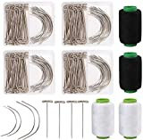 Nicunom 280 Pcs Wig Making Pins Needles and Thread Set, Wig T Pins and C Curved Needles with 2 Roll Black and 2 Roll White Thread for Wig Making, Hair Extension, Blocking Knitting, Modelling, Crafts