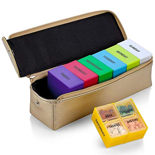 7 Day Pill Box 4 Times A Day Vitamin Organiser Box 28 Compartments for Morning, Noon, Evening and Bed with PU Leather Case