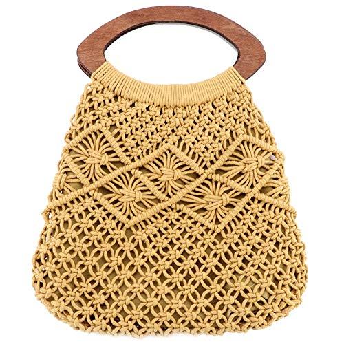 Mango de madera Bolsa de algodón portátil Tejer la cuerda Bolso de paja Bolso hecho a mano de Net Beach Bolso con forro Beige