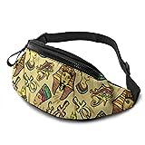 PULLA Riñonera Deportivo Bolso Cintura Cinturón Ajustable Running Belt Bolsa de Correr Antiguo Egipto Faraón Nefertiti Gato