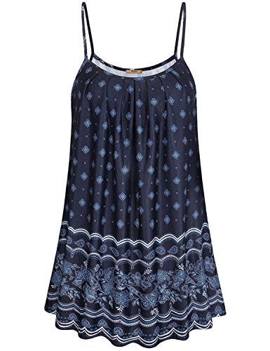 Miusey Floral Sleeveless Tops for Women, Ladies Paisley Long Tops Wear with Leggings Business Casual Polyester Soft Flattering Pleated Bust Shirt Black M