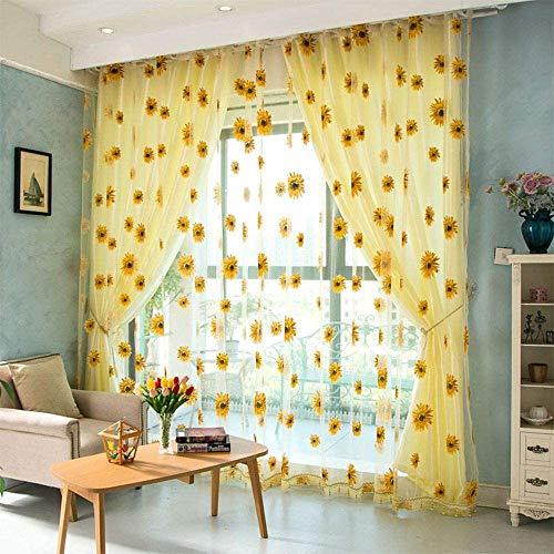 2 pcs Curtains Drapes Sunflower Sheer Transparent Tulle Door Window Floral Drape Panel