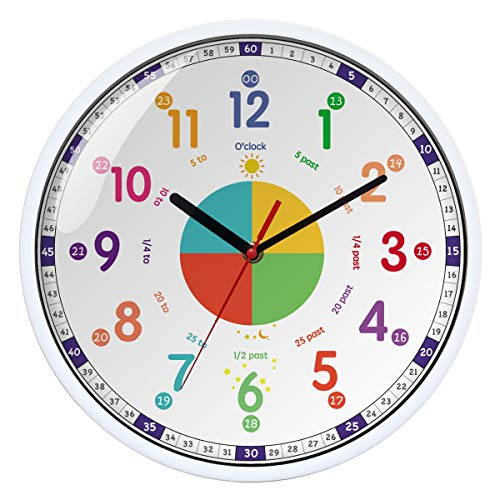 Wall Clock for Kids with Silent Non Ticking Sweep Quartz Mechanism - Easy to Read & Learn to Tell Time,Quiet Child Wall Clock Perfect for Parents and Teachers, Kids Bedroom or Classroom