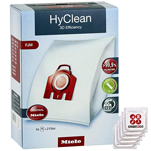 Miele FJM HyClean 3D Bags (Pack of 4) + Tab Fresheners for C1 C2 S4 S4000 S6 S6000 S6210 S6220 Cat & Dog Vacuum Cleaner