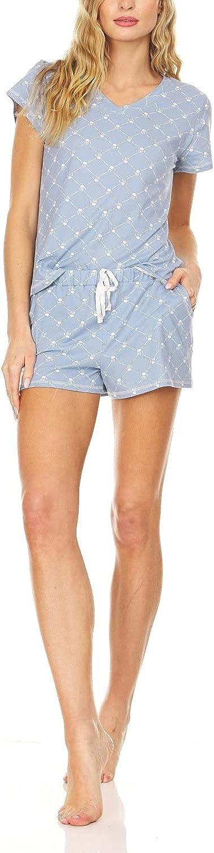 Bearpaw 2 PC Womens Summer Pajamas Logo Print Jersey Short Sleeve V-Neck T-Shirt and Shorts For Lounging and Sleepwear
