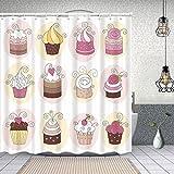Duschvorhang, Cupcakes Bäckerei Gebäck Design Cartoon Doodle Style Desserts Cremige Polyester Wasserabweisend Shower Curtain Anti-Schimmel Duschgardine, für Badewanne & Bathroom 152 cmx183 cm
