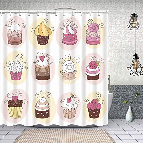 MAYUES Cortina de Ducha Impermeable Cupcakes Panadería Pastelería Diseño Dibujos Animados Estilo Doodle Postres Pasteles Cremosos Cortinas baño con Ganchos Lavable a Máquina 62x72 Inch