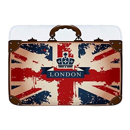 N\A Alfombra de baño, Maleta de Viaje Vintage con Bandera británica, Cinta de Londres e Imagen de Corona, Alfombrillas de Felpa para decoración de baño con Respaldo Antideslizante