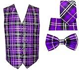 4pc Plaid Tuxedo Vest Set-Purple-3XL