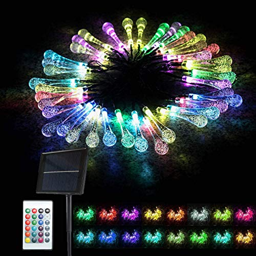 Supsoo Solar String Lights Garden, Outdoor Waterproof Waterdrop 40 LED Solar Fairy Lights, Fence, Christmas, Tree, Party Decoration Lighting - Multi Color, 21FT, 16 Colors choosable, 4-in-1 Mode