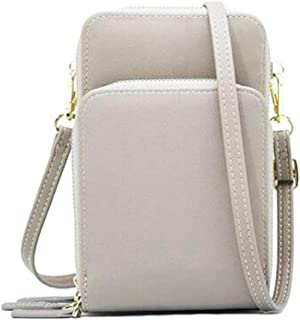 Leorealko Leather Crossbody Purse Crossbody Cellphone Shoulder Bag for Female Student Smartphone Wallet with Removable Strap