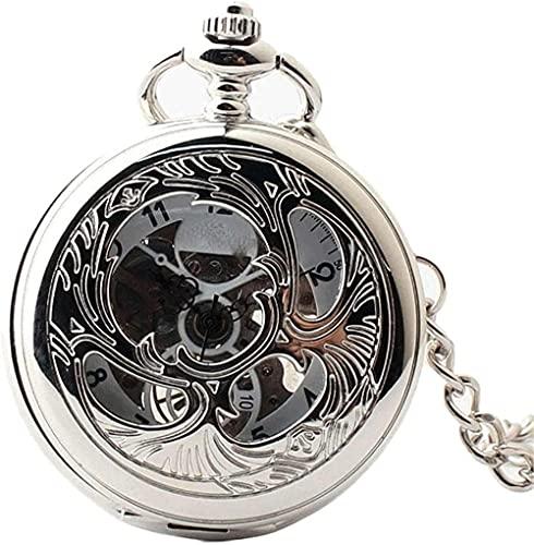 Orologio da tasca Classico orologio da tasca meccanico con superficie liscia con catena Natale...