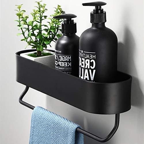 XYHCS Negro Plataforma de baño 30-50 cm Longitud Estantes de Cocina Pared de la Ducha Cesta de Almacenamiento toallero Barra Robe Ganchos Accesorios de baño (Color : 50cm with Bar)