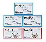 Matiz Sardines and Octopus Pulpo in Olive oil (Variety Pack of 5)
