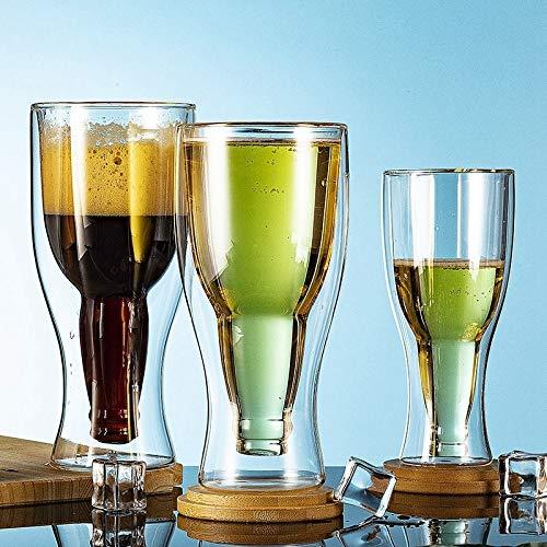 Mano Copas Cóctel creativa Vaso de doble pared taza de café Cerveza Vino vasos de whisky de cristal de Champán la taza de café Vodka Copas estilo de la botella Grabadas Copa ( Capacity : 250ml )