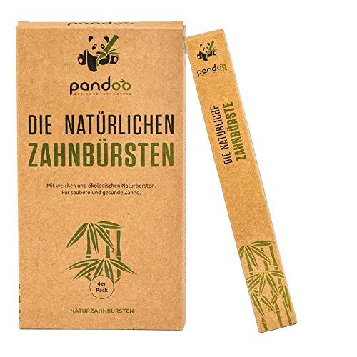 Pandoo Cepillos de dientes de bambú para adultos - 1 de 4 unidades - Total: 4 unidades