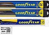 Windshield Wiper Blade Set/Kit/Bundle for 2009-2014 Nissan Murano - Driver, Passenger Blade & Rear Blade & Reminder Sticker (Hybrid with Goodyear Rear)