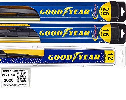 Windshield Wiper Blade Set/Kit/Bundle for 2013-2015 Subaru XV Crosstrek - Driver, Passenger Blade & Rear Blade & Reminder Sticker (Hybrid with Goodyear Rear)