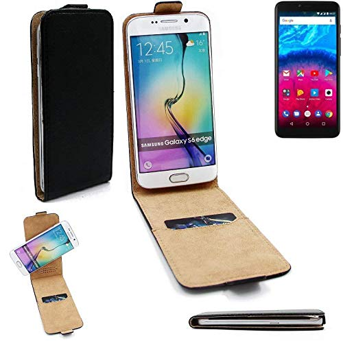 K-S-Trade® Für Archos Core 57S Flipstyle Schutz Hülle 360° Smartphone Tasche, Schwarz, Case Flip Cover Für Archos Core 57S