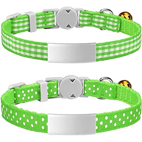 TagME Katzenhalsband mit Namen, Katzenhalsband mit Adresse, Katzenhalsband mit Sicherheitsverschluss,Grün, 2 Pack