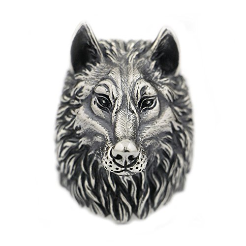 LISNION 925 Sterling Silver Wolf Ring Huge Heavy Mens Biker Ring TA90 (Z+1)