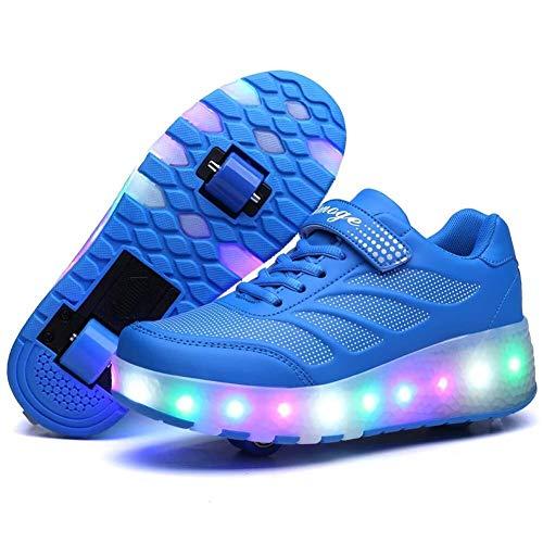 Bradoner Zapatos LED ajustables para niños, con ruedas, con botones, para monopatín, dos ruedas, tenis de gimnasio al aire libre, para niñas jóvenes (color: azul, tamaño: 36EU)