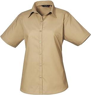 dee38e969 Premier Women's poplin Short Sleeve blouse, Ladies Plain Work Shirt