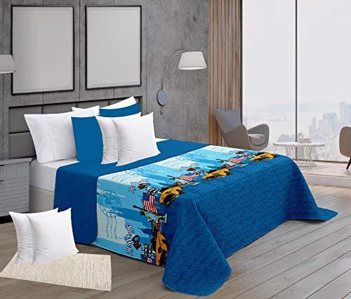 Forentex Newyork 90 cm zomer spreien met kussensloop plus vullingen 50 x 50 cm omkeerbare gewatteerde patronen, blauw, 3