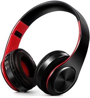 MDHANBK Auriculares inalámbricos estéreo, Bluetooth, Soporte para teléfono móvil, reproducción de Tarjeta SD, PC con micró...