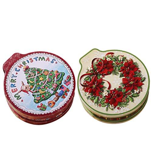 Gadpiparty 2 Stück Weihnachtsplätzchen Dosen Candy Box Runde Leere Kekse Dosen Weihnachten Metall Geschenkbox für...