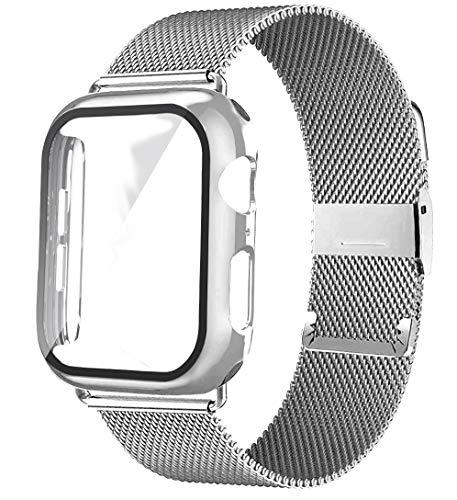FAAGFC Vidrio+caso+correa para Apple Watch Band 44mm 40mm 38mm 42mm Accesorios Metal Milanese Loop Correa para Iwatch Series 6 5 4 Se