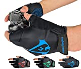 Americ Empire Pro Fingerless Gaming Gloves for Sweaty Hands 【As Seen on TV】 Gamer Gloves PS4, Xbox One, EPG Anti Sweat. Finger Gloves for Gaming   Gamer Grip for Sweaty Hands. Gamer Gifts (Blue, M)