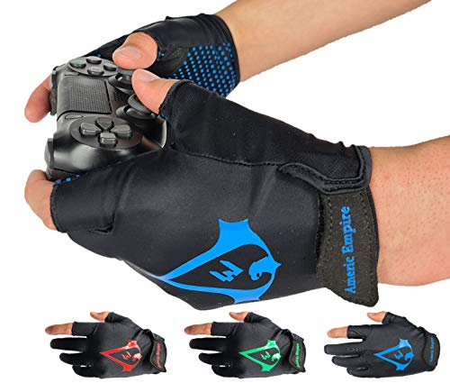 Americ Empire Pro Fingerless Gaming Gloves for Sweaty Hands 【As Seen on TV】 Gamer Gloves PS4, Xbox One, EPG Anti Sweat. Finger Gloves for Gaming | Gamer Grip for Sweaty Hands. Gamer Gifts (Blue, M)