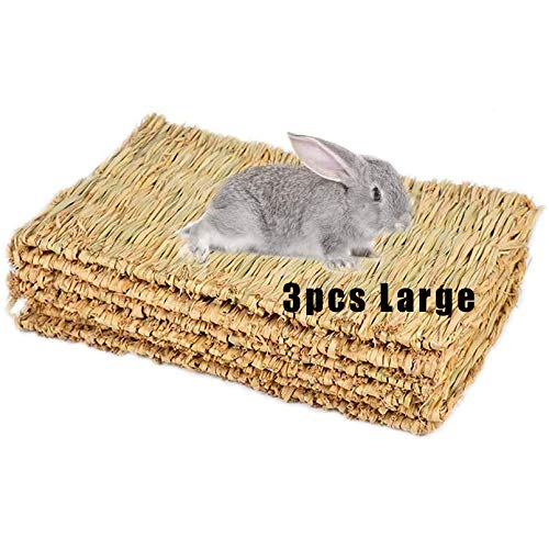 Grass Mat Woven Bed Mat for Small Animal 3PCS Large Bunny Bedding Nest Chew Toy Bed Play Toy for Guinea Pig Parrot Rabbit Bunny Hamster Rat