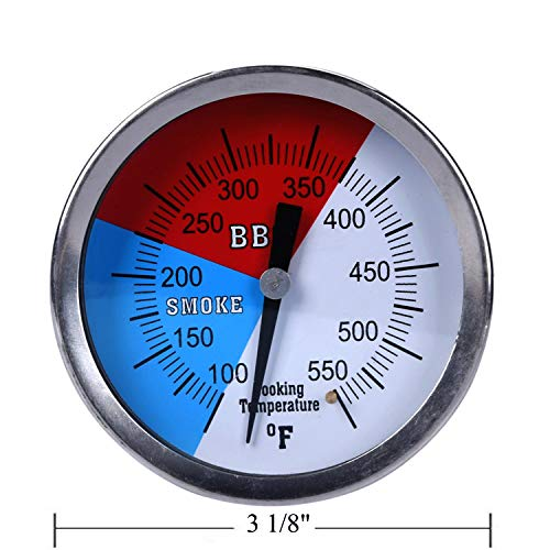 """GasSaf 3"""" Charcoal Grill Pit Smoker Temp Gauge Grill Thermometer Gauge with Fahrenheit and Heat Indicator, Larger Face with 3"""" Stainless Steel Stem, Easy to Read Temperature(100-550F)"""