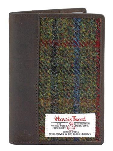 Harris Tweed und Leder Passhalter Boxed (Grün und Rot)