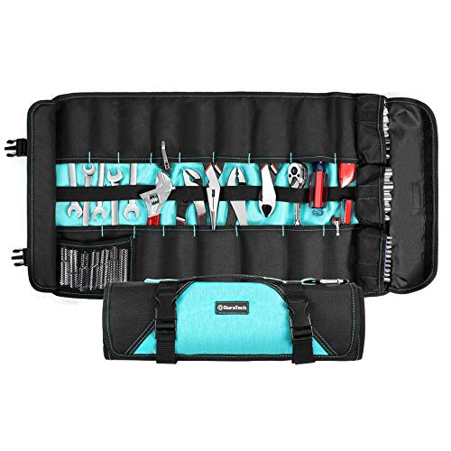 DURATECH 21-Pocket Tool Roll Organizer, Wrenches Pliers Screwdrivers Sockets Folding Storage with Pouch and Protective Flap, Roll Up Tool Bag without Tools for Electrician Plumber Carpenter Mechanic