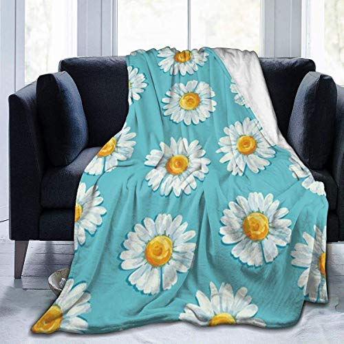 Hoswee Kuscheldecken,Überwürfe,Mikrofaser-Decke Throw Blanket Daisy Floral Flower Ultra-Soft Micro Fleecedecke 50 X 40 Inches Warm Blanket for Adult Couch Travel Chair Blanket Lightweight Blanket