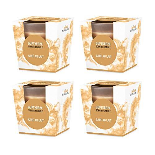 pajoma Duftkerze 4er Set, Cafe au Lait, im satinierten Glas, 4x 124 g, Brenndauer: 25 Stunden, in edler Geschenkverpackung