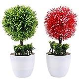 PRETYZOOM 2 unidades de bolas artificiales, maceteros de boj Topiary, bolas artificiales, árbol con forma de árbol, verde y rojo, bonsái en maceta de plástico blanco, para casa rural