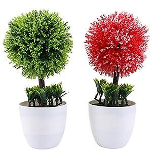 BESTOYARD 2pcs Christmas Fake Plants Artificial Plants in Pots Mini Artificial Bonsais Simulation Snowball for Home Flower Greenery Decoration (Red+Green)