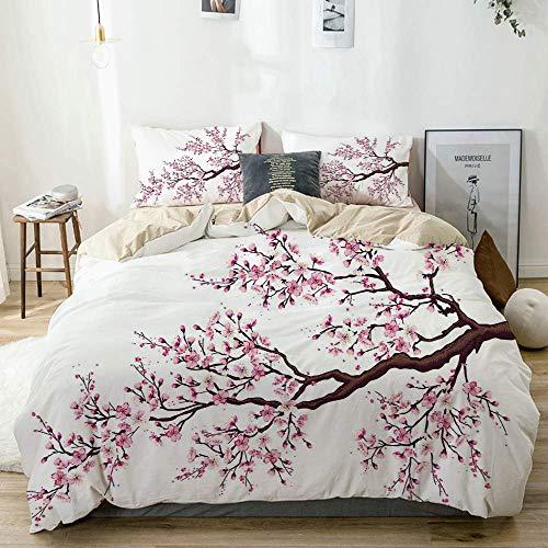 Juego de fundas nórdicas Beige, rama de un floreciente árbol de sakura Flores de cerezo Arte de tema primaveral, juego de cama decorativo de 3 piezas Tamaño doble con 2 fundas de almohada Cuid