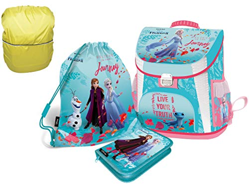 Frozen Anna ELSA Schulranzen Set 4 TLG.Mädchen 1 Klasse Tornister Schulrucksack Schultasche für Grundschule super leicht ergonomisch und anatomisch