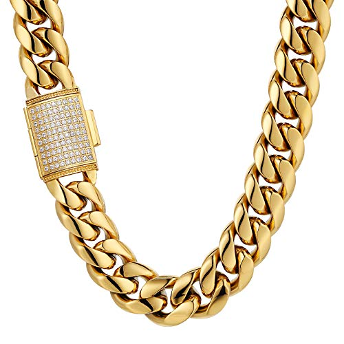 AYOUYA KRKC&CO 12/18 mm Men's Cuban Link Chain Necklace, 18K Gold Plated/Silver Curb Chain Stainless Steel with Iced Out Clasp, Cuban Link Chain, Hip Hop for Men and Boys 18 mm gold