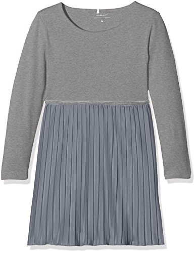 NAME IT Baby-Mädchen Kleid NITFICARLA LS Dress F Mini, Grau (Grey Melange), 92